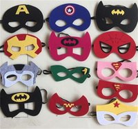 Wholesale Party Favors Masks Kids Party Costume Mark Super Hero Cosplay Masks Kids Superman Captain America Batman Felt mask For Xmas Gift
