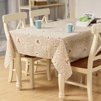Wholesale floral table cloths cotton linen made plain colour simple style coffee blue flowers table covers