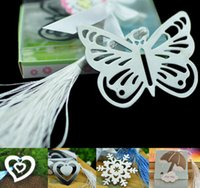 Wholesale New Creative Bookmarks in Small Box Hallow Snowflake Butterfly Heart Umbrella Hanging Tassels Literature Great Gift