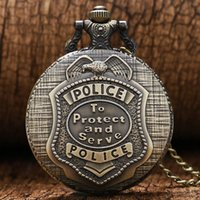 acrylic serving - Vine Bronze police to protect and serve Pocket Watches Women Men Laides Kids Steampunk Pocket Watch with Chain Pendant