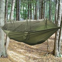 backyard nets - Double Hammock with Mosquito Net Hang Travel Bed Lightweight Parachute Fabric For Indoor Outdoor Camping Hiking Backpacking Backyard