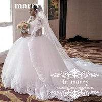 Wholesale Puffy Chapel Train African Nigeria Wedding Dresses Ball Gown Sweetheart Vintage Lace Middle East Victorian Dubai Plus Size Bridal Gowns
