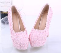 accent mix - Hot Sale High Quality cm Pink Lace Accents Pearls Bridal Shoes Pointed Toe High Pumps Wedding Shoes