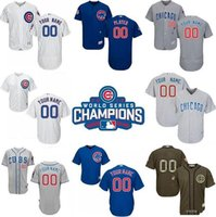 Wholesale Newest World Series Champions Patch Men s Custom Chicago Cubs White Grey and Blue Baseball Jerseys for price Mix Order