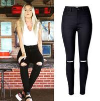 Wholesale Fashion Ladies Army Green White Black Ripped Jeans Women High Waist Jeans Femme Stretch Noir slim Jean taille haute Denim Pants