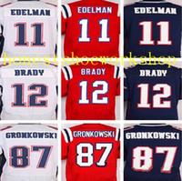 Wholesale HOTsale Best quality jersey Men s Tom Brady Rob Gronkowski Julian Edelman elite Stitched jerseys White Red blue Size