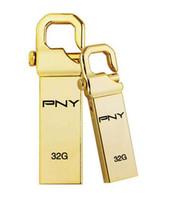 attache usb - 50pcs PNY USB Flash Drive Metal Personalizado Metal Pen Drive High Speed USB Stick gb gb gb Hook Attache Gold Edition