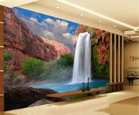 alpine floral - Luxury European Modern Alpine waterfall mural d wallpaper d wall papers for tv backdrop