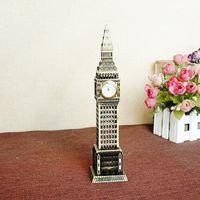 big ben clock - pc cm London Big Ben Statue Desk Clock BronzeColor Famous Building Figurine Model For Home Decoration Souvenir