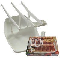 Wholesale Bacon Cooker Makin Bacon Microwave Pan Vertical Hanger Tray Quick and Easy Bacon Maker DHL Free JU016