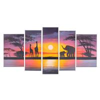 Современное искусство расписанную Африканский Пейзаж маслом готовы повесить слон живописи на холсте 5 панелей