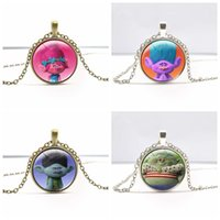 Wholesale Movie Series Trolls Metal Pendant Eight Type Trolls Necklace Pendant Silver And Bronze Chaveiro Llavero Figure Model Toy D035