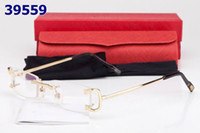 Wholesale New rimless glasses frame gold silver metal alloy frame men women eyeglasses with box lunette de soleil
