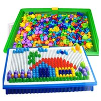 Wholesale Children S Mushroom Toys - Wholesale-Scale models 3D Puzzle Mushroom nail inserted beads Jigsaw puzzle toys Hama Beads children' s educational toys for children