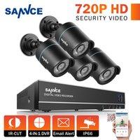 al por mayor cámaras de seguridad al aire libre de interior-SANNCE Sistema de seguridad de video HDTVI 720P Lite de 4 canales HDTV y (4) Cámaras de interior / exterior a prueba de intemperie con LEDs de visión nocturna IR, NO HDD
