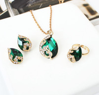 Wholesale 2016 fashion crystal jewelry sets for women teardrop water drop bib statement necklace pendants earring ring three piece jewelry