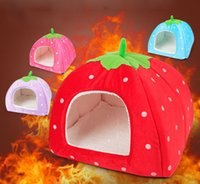 best dog kennels - Best Quality Colorful Soft Sponge Strawberry Pet House For Dog Cat Lovely Warm Pet Cage Supplies