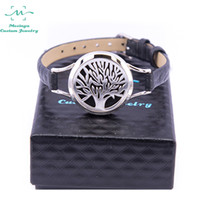 aromatherapy wrap - 5pcs New black Genuine Leather wrap tree of life Aromatherapy bracelet L s steel Essential Oils Diffuser Locket bangle wrist
