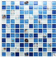Wholesale The ice crystal glass mosaic shell mosaic natural Mediterranean bathroom wall tile waist background