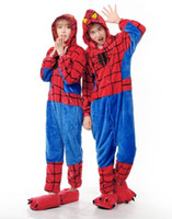 Wholesale 2017 new Hoodies Adults Spiderman Onesie Women Men Anime Cartoon Cosplay Costumes Party Dress Sleepwear
