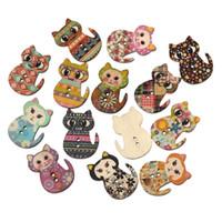 al por mayor botones de álbum de recortes de bebé-Hangood 50pcs mezclado 2 agujeros forma de gato botones de madera de madera para coser DIY artesanías bebé ropa Scrapbooking 30 mm