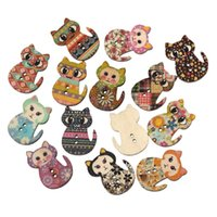 baby sewing crafts - Hangood Mixed Holes Cat Shape Wood Wooden Buttons for Sewing DIY Crafts Baby Clothes Scrapbooking mm