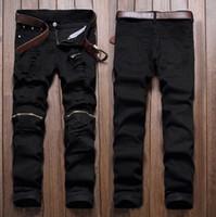 achat en gros de pantalon denim gros-Vente en gros-Men élégant Ripped Jeans Zipper Hollow Out Biker Classic mince Slim Straight Denim Trousers