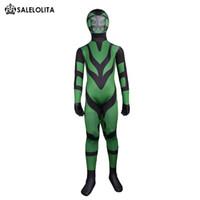 achat en gros de vert zentai noir-Children Superhero Green and Black Lycra Spandex Costume de Zentai Combinaison d'animaux pour enfants Costumes d'Halloween pour enfants