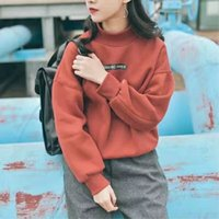 Wholesale New Winter Fashion Printed Sweatshirts Longsleeve Pullover Thickening Fleece High Collar Casual Sports Turtleneck Woman s Clothes Tops