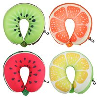 Wholesale Fruit U Shaped Pillow Travel Watermelon Lemon Kiwi Orange Pillows Cushion Nanoparticles Neck Pillow Car Travel Pillow