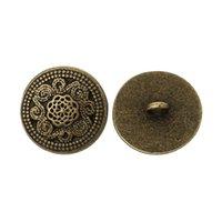 achat en gros de boutons en métal bronze-Kimter Bronze Ancien Sculpté Motif Boutons ronds en métal avec trou de derrière 20mm pour poignets accessoires de vêtement Pack décoratif de 50pcs I487L