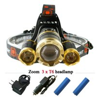 Wholesale 3 CREE XM L T6 led headlamp headlight lumens led head lamp camp hike emergency light fishing outdoor equipment