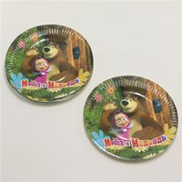 Wholesale masha and the bear child kids birthday party paper plate inch printing round plates