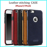 Wholesale For iPhone s New Business Leather Pattern Stitching Phone Case TPU Soft Shell full protection Anti drop Case with Opp Package