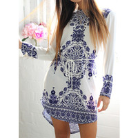 beach tile - New Summer Style White Blue Porcelain Long Sleeve Loose Casual Mini Keyhole Back Hem Tile Prints Plus Size Beach Vestido Dress
