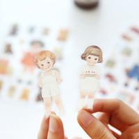 Wholesale 6 Sheets Kawaii Cute Girl Doll Phone Decorative Stickers DIY Album Decor Stick Label Paper Crafts