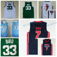 93e927c0f Basketball Unisex Short 1992 USA Dream Team Larry Bird Jersey 7 Throwback  Indiana State Sycamores 33