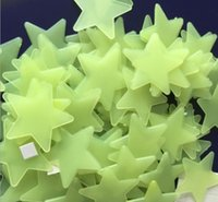 Wholesale 500pcs Fluorescent Glow Star in the dark plastic star with Adhesive Wall stickers