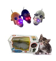 animal update - Electric Remote Control Mouse Eyes shine Tricky Plastic Flocking Wireless Cat Dog Toys Mouse Black Brown Grey Updated Version A241