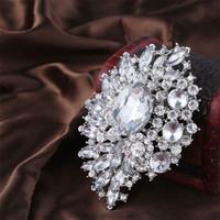 30% de descuento Broche de Bouquet de la vendimia Sparkly Silver Corsage Cristal Rhinestone hebilla Flor Pins Swarovski Mejor Broche de la joyería de la boda Pin