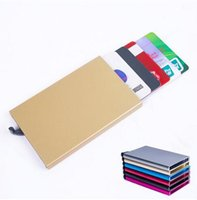 aluminum slots - Thin Metal Rfid Card Protector Slim aluminum Credit Card holder Wallet Case Cards Slide Out Gradually