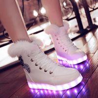 ankle hair - Fashion high quality super warm flashing flat heel genuine rabbit hair women LED shoes LED snow boots EU35 US4