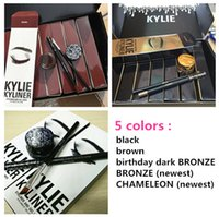 Wholesale Christmas discount Kylie Cosmetics Kylie Kyliner In Brown Black gold Kyliner Kit Birthday Edition Dark Bronze Set
