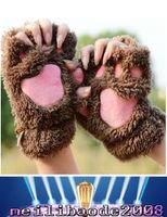 Wholesale Ladies Winter Fingerless Gloves Mittens Fluffy Bear Cat Plush Paw Claw Half Finger Glove Soft Half Covered Women Female Gloves MYY