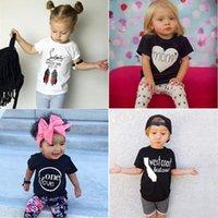 Wholesale INS Baby T shirt Boys Girls Letters T shirt Summer Infants Short Sleeve Solid Color Tops Children Floral T Shirt Kids Clothes