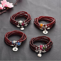 amulet set - Multilayer Necklace Bracelet Glass Garnet Color Loose Beads Jewelry A Strand Ball Beads Women Reiki Chakra Amulet Jewelry Accessories