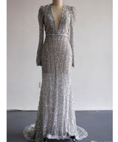 Wholesale Our Real Pictures Evening Sliver Dresses with Deep V Neckline Long Sleeves Floor Length Court Train