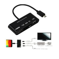 Wholesale HDMI Connection Kit Micro USB OTG SD TF Card Reader HUB MHL to HDMI HDTV TV Adapter HDTV Adapter with retiali box