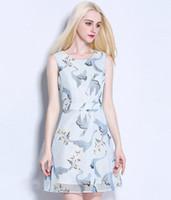 Wholesale New Summer Women s Fashion Swan Printed Short Dresses Ladies Sexy Sleeveless Round Neck Dress Girls Sweet Sky Blue Princess Dress