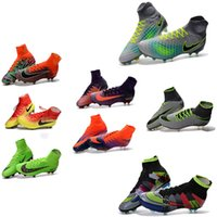 Wholesale New Men Mercurial Superfly CR7 FG Soccer Cleats Magista Obra Soccer Shoes Outdoor s League Football Boots Hypervenom II Cleats